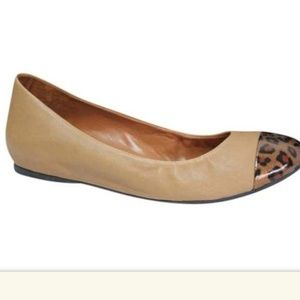 J crew leopard cap toe leather ballerina flats 7